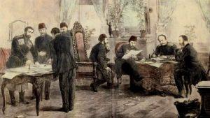 Гравюра от подписването на Санстефанския мирен договор на 3 март 1878 г.