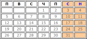 Календар с почивни и работни дни за Август 2019