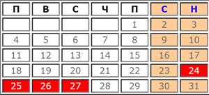 Календар с почивни и работни дни за Декември 2019
