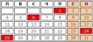 Календар с почивни и работни дни за Май 2020