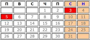 Календар с почивни и работни дни за Март 2019