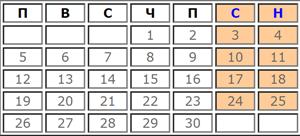 Календар с работни дни за Ноември 2019