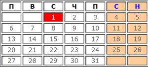 Календар с почивни и работни дни за Януари 2020