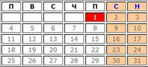 Работни дни през Януари 2021 (календар)