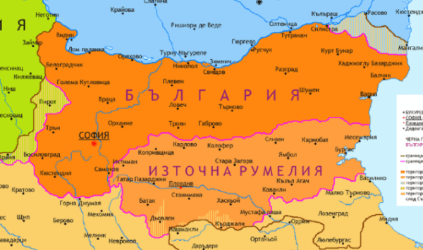 Карта на Княжество България и Източна Румелия преди Съединението на 6 септември 1885 г.